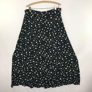Vintage Polka Dot Maxi Button Front Maxi Skirt